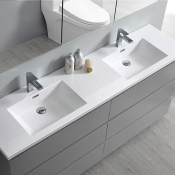 """72"""" Gray Cabinet with Sink Edge Close Up"""