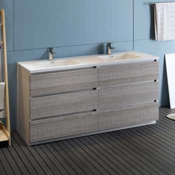 """72"""" Glossy Ash Gray Cabinet with Sink Side View"""