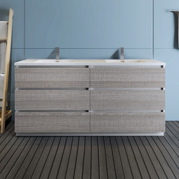"""72"""" Glossy Ash Gray Cabinet with Sink Front View"""