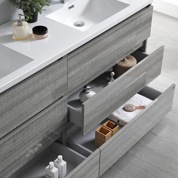 """72"""" Glossy Ash Gray Cabinet with Sink Overhead View"""