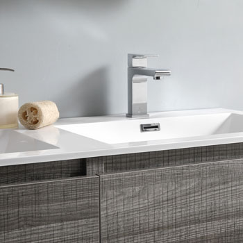 """72"""" Glossy Ash Gray Cabinet with Sink Close Up"""