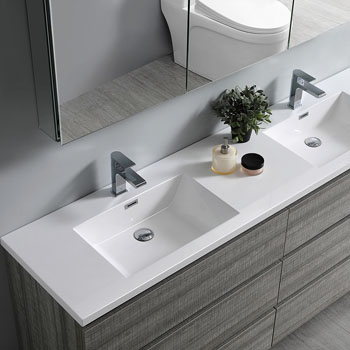 """72"""" Glossy Ash Gray Cabinet with Sink Edge Close Up"""