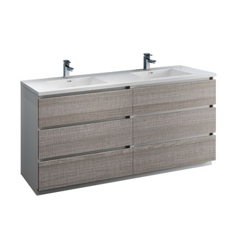 """72"""" Glossy Ash Gray Cabinet with Sink Product View"""