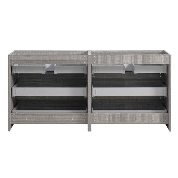 """72"""" Glossy Ash Gray Cabinet Only Inside View"""