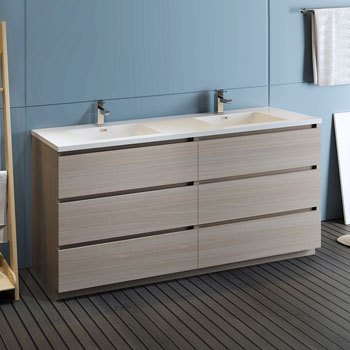 """72"""" Gray Wood Cabinet with Sink Side View"""