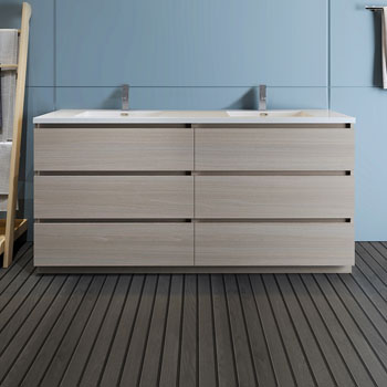"""72"""" Gray Wood Cabinet with Sink Front View"""