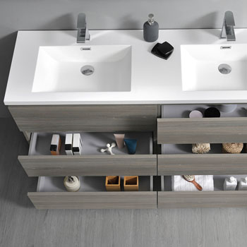 """72"""" Gray Wood Cabinet with Sink Overhead View"""