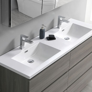 """72"""" Gray Wood Cabinet with Sink Edge Close Up"""