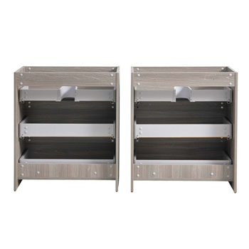 """72"""" Gray Wood Cabinet Only Split View"""