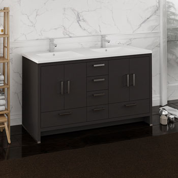 Dark Gray Oak Double Cabinet with Sinks Side View