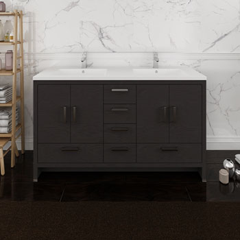 Dark Gray Oak Double Cabinet with Sinks Front View