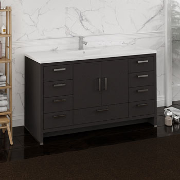 Dark Gray Oak Single Cabinet with Sink Side View