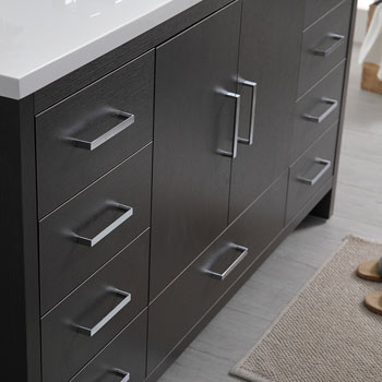 Dark Gray Oak Single Cabinet with Sink Edge