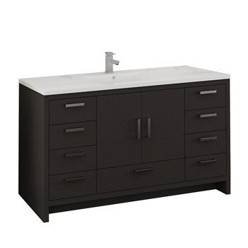 Dark Gray Oak Single Cabinet with Sink Product View