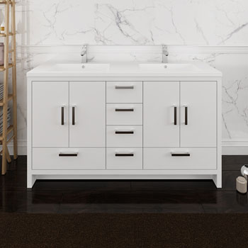 Glossy White Double Cabinet with Sinks Front View