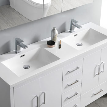 Glossy White Double Cabinet with Sinks Overhead View