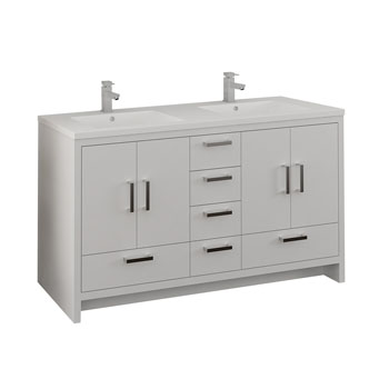 Glossy White Double Cabinet with Sinks Handles