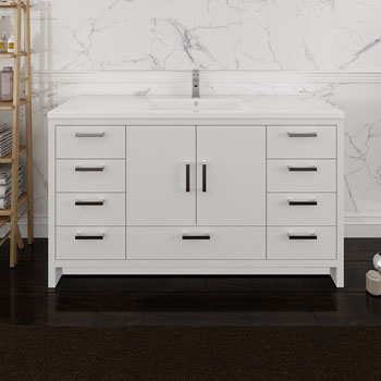 Glossy White Single Cabinet with Sink Side View