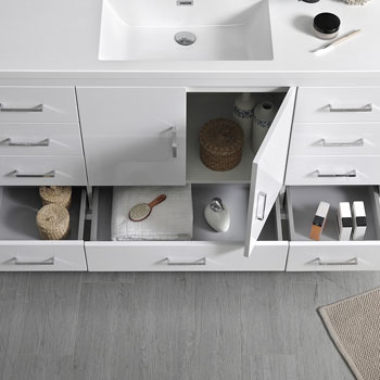 Glossy White Single Cabinet with Sink Handles