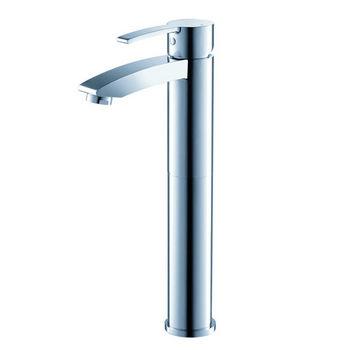"Fresca Livenza Single Hole Vessel Mount Bathroom Vanity Faucet in Chrome, Dimensions: 2"" W x 5-5/16"" D x 12-5/16"" H"