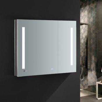 Fresca Tiempo 36 Wide X 30 Tall Bathroom Medicine Cabinet W Led Lighting Defogger 5 D H