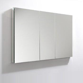 "Fresca 50"" Wide x 36"" Tall Bathroom Medicine Cabinet w/ Mirrors (3 Mirrored Doors), 49"" W x 5"" D x 36"" H"