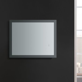 "24"" x 30"" Silver Hortizontal Hung View LED Lighting Off"