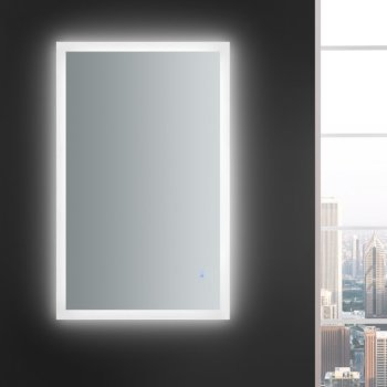 """48"""" x 30"""" Silver Vertical Hung LED Off Front View"""