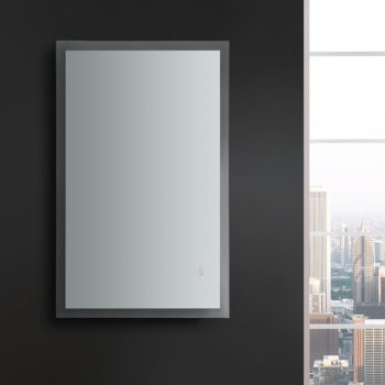 """48"""" x 30"""" Silver Vertical Hung LED On Front View"""