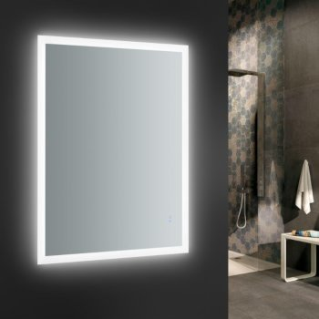 """48"""" x 36"""" Silver Vertical Hung LED On"""