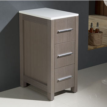 Gray Oak Freestanding Linen Side Cabinet