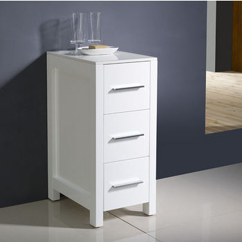 White Freestanding Linen Side Cabinet