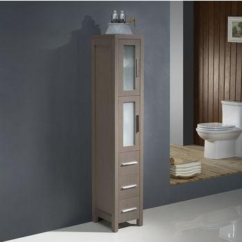 Gray Oak Freestanding Tall Linen Side Cabinet