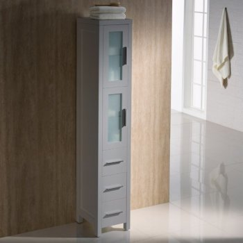 Gray Freestanding Tall Linen Side Cabinet
