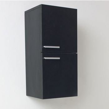 "Fresca Senza Black Wall Mounted Bathroom Linen Side Cabinet with 2 Storage Areas, Dimensions: 12-5/8"" W x 12"" D x 27-1/2"" H"
