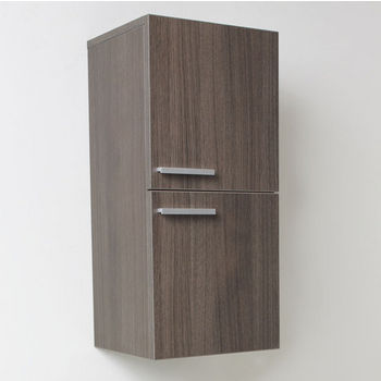 "Fresca Senza Gray Oak Wall Mounted Bathroom Linen Side Cabinet with 2 Storage Areas, Dimensions: 12-5/8"" W x 12"" D x 27-1/2"" H"