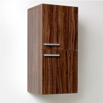 "Fresca Senza Walnut Wall Mounted Bathroom Linen Side Cabinet with 2 Storage Areas, Dimensions: 12-5/8"" W x 12"" D x 27-1/2"" H"