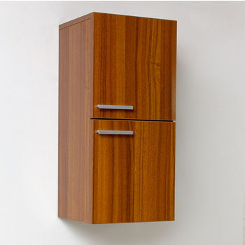 "Fresca Senza Teak Wall Mounted Bathroom Linen Side Cabinet with 2 Storage Areas, Dimensions: 12-5/8"" W x 12"" D x 27-1/2"" H"