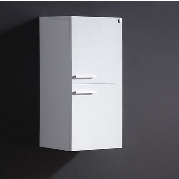"Fresca Senza White Wall Mounted Bathroom Linen Side Cabinet with 2 Storage Areas, Dimensions: 12-5/8"" W x 12"" D x 27-1/2"" H"