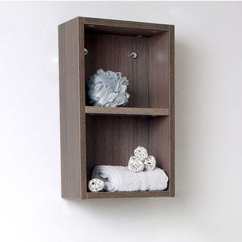 """Fresca Senza Gray Oak Wall Mounted Bathroom Linen Side Cabinet with 2 Open Storage Areas, Dimensions: 11-7/8"""" W x 5-7/8"""" D x 19-5/8"""" H"""