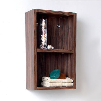 """Fresca Senza Walnut Wall Mounted Bathroom Linen Side Cabinet with 2 Open Storage Areas, Dimensions: 11-7/8"""" W x 5-7/8"""" D x 19-5/8"""" H"""