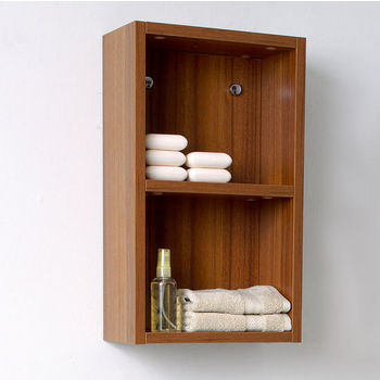 """Fresca Senza Teak Wall Mounted Bathroom Linen Side Cabinet with 2 Open Storage Areas, Dimensions: 11-7/8"""" W x 5-7/8"""" D x 19-5/8"""" H"""