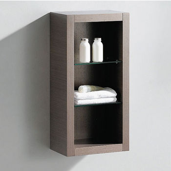 "Fresca Allier Gray Oak Wall Mounted Bathroom Linen Side Cabinet with 2 Glass Shelves, Dimensions: 15-3/4"" W x 10"" D x 32"" H"