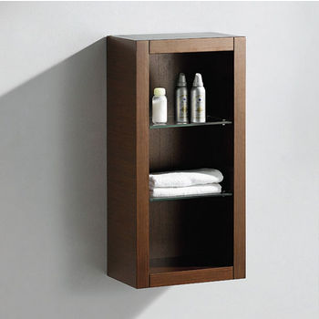 "Fresca Allier Wenge Brown Wall Mounted Bathroom Linen Side Cabinet with 2 Glass Shelves, Dimensions: 15-3/4"" W x 10"" D x 32"" H"