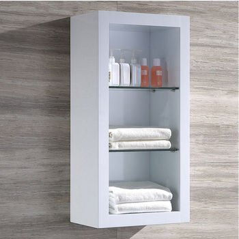 """Fresca Allier White Wall Mounted Bathroom Linen Side Cabinet with 2 Glass Shelves, Dimensions: 15-3/4"""" W x 10"""" D x 32"""" H"""