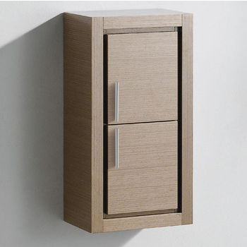 "Fresca Allier Gray Oak Wall Mounted Bathroom Linen Side Cabinet with 2 Doors, Dimensions: 15-3/4"" W x 10"" D x 30"" H"