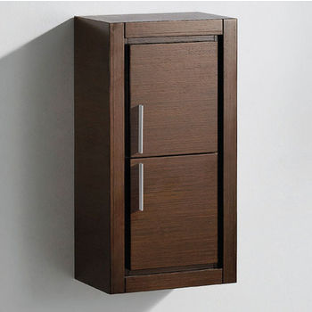 "Fresca Allier Wenge Brown Wall Mounted Bathroom Linen Side Cabinet with 2 Doors, Dimensions: 15-3/4"" W x 10"" D x 30"" H"