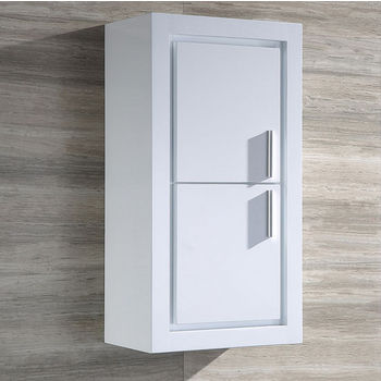 "Fresca Allier White Wall Mounted Bathroom Linen Side Cabinet with 2 Doors, Dimensions: 15-3/4"" W x 10"" D x 30"" H"