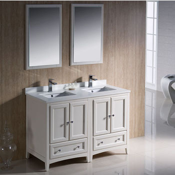 """Fresca Oxford 48"""" Antique White Traditional Double Sink Bathroom Vanity, Dimensions of Vanity: 48"""" W x 20-3/8"""" D x 32-5/8"""" H"""