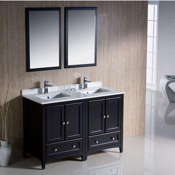 "Fresca Oxford 48"" Espresso Traditional Double Sink Bathroom Vanity, Dimensions of Vanity: 48"" W x 20-3/8"" D x 32-5/8"" H"